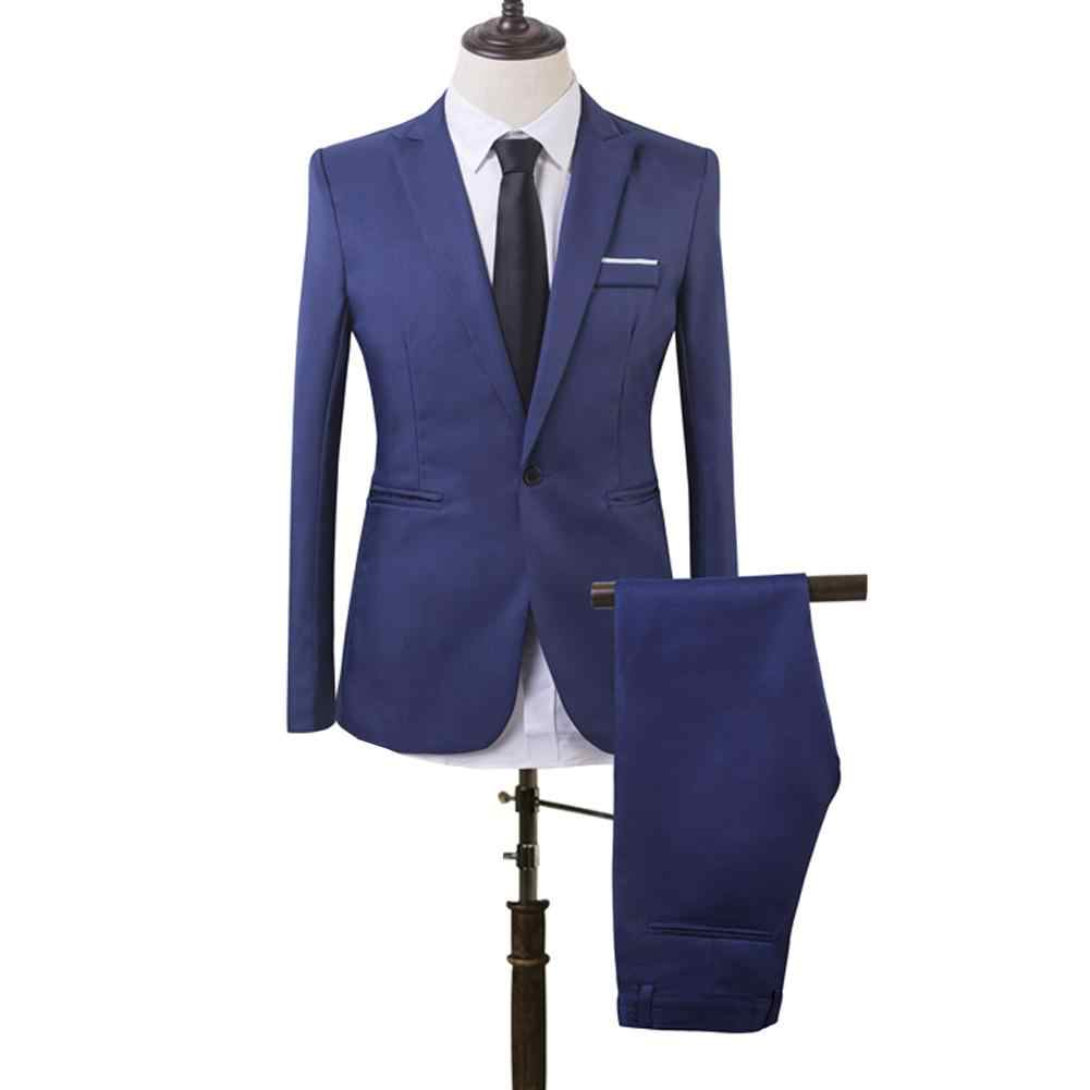Men Dress Jacket Slim Fit Business Leisure One Button Formal Two-Piece Suit for Groom Wedding