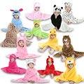 Новая Мода для Животных Мультфильм Дизайн С Капюшоном Ребенок Шпалы Одежды Для 0-24 месяцев Младенческой Пижамы pijama пижамы Милые Домашней Одежды