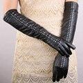 New 2016 Women  Christmas Gift Famous Brand Genuine sheepskin nappa leather long rivet gloves winter opera dress gloves mittens