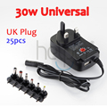 25pcs 30W Universal AC Wall Plug in Power Adapter 3v 4.5v 5v 6v 7.5v 9v 12v 1A charger with 6 pieces connection tip power supply