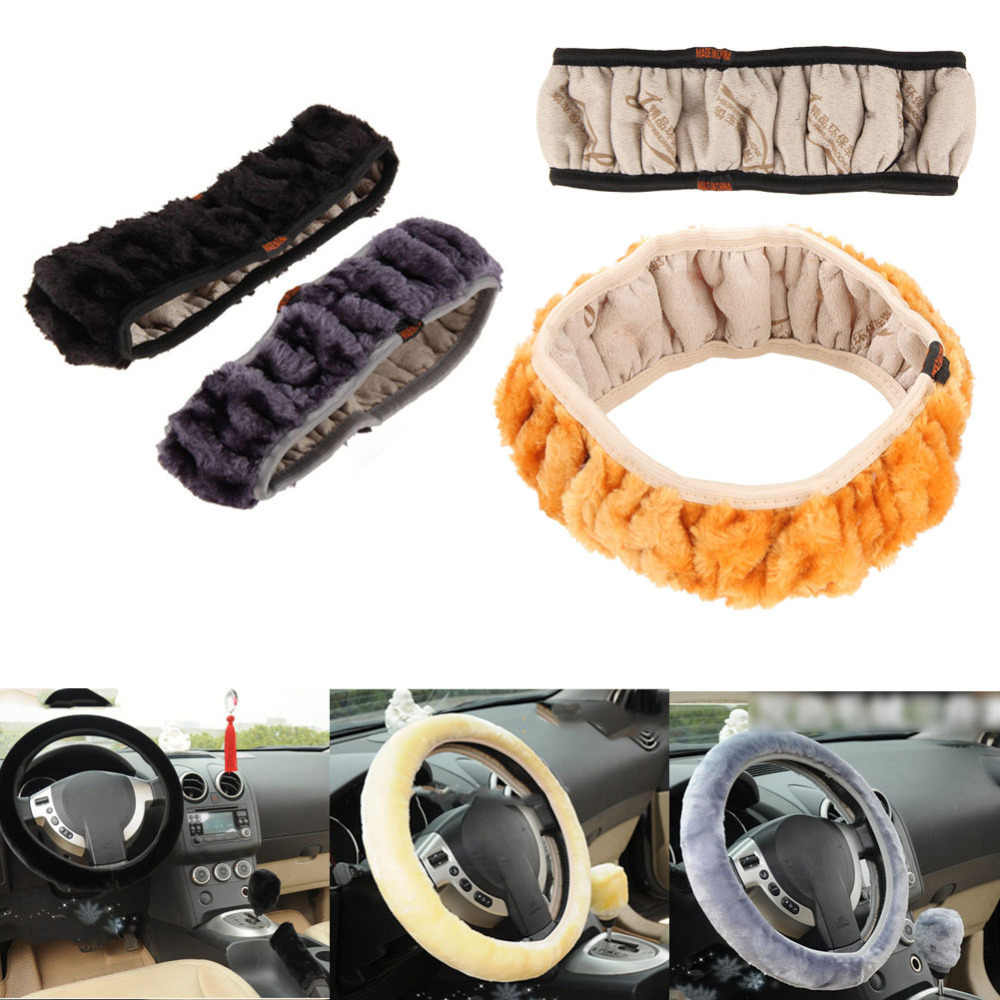 VODOOL Car Winter Warm Steering Wheel Cover Warm Long Wool Plush Steering Wheel Cover Faux Fur Handbrake Car Auto Accessories