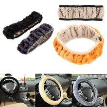 VODOOL samochód zimowy ciepły pokrowiec na kierownicę ciepła długa wełna do pluszowych pokrowców na kierownicę Faux Fur hamulec ręczny akcesoria samochodowe