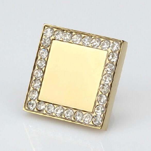 Boutons de diamant carrés bouton de tiroir en cristal tirer or brillant armoire de cuisine poignée or commode placard meubles boutons