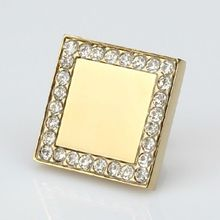 Square diamond knobs crystal drawer knob pull shiny gold kitchen cabinet handle  gold dresser cupboard furniture knobs