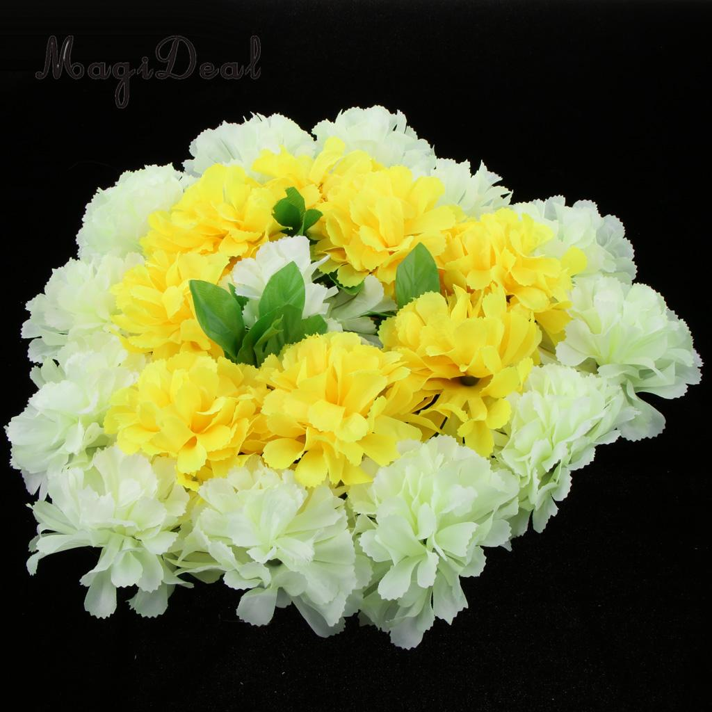 Heart Shaped Silk Artificial Funeral Flowers Wreath//MemorialGrave Tribute Yello