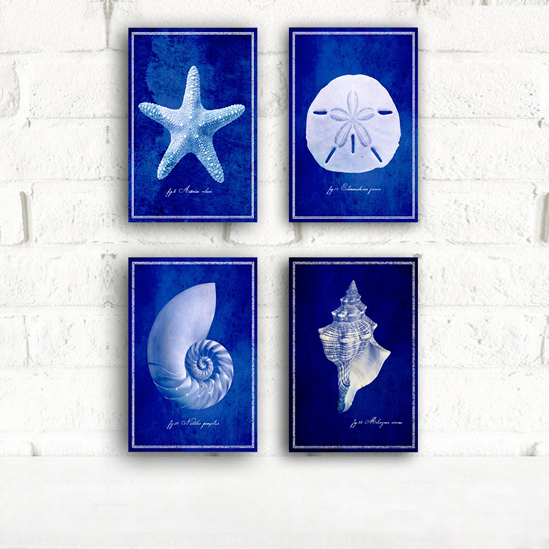 Aliexpress Com Buy Bule Starfish Sand Dollar Canvas