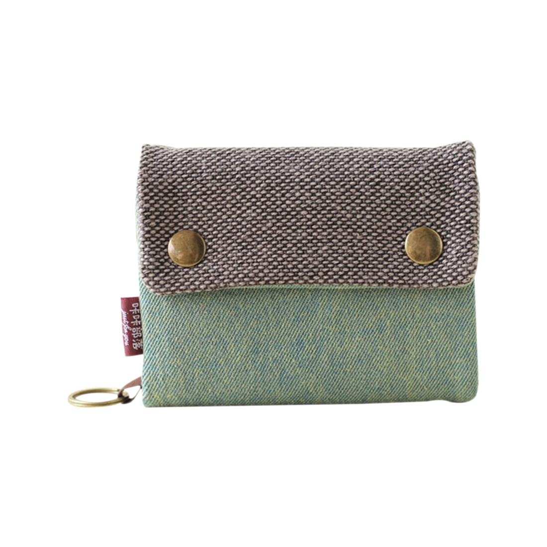 Unisex Men Women's Three Layer Folded Manual Canvas Wallet Bag With Multi Card Holder,Boy Girl's Multifunction Coin Purse Green g favor vintage waterproof oil wax canvas clutch bag men long wallet card holder dollar purse coin multifunction business bag