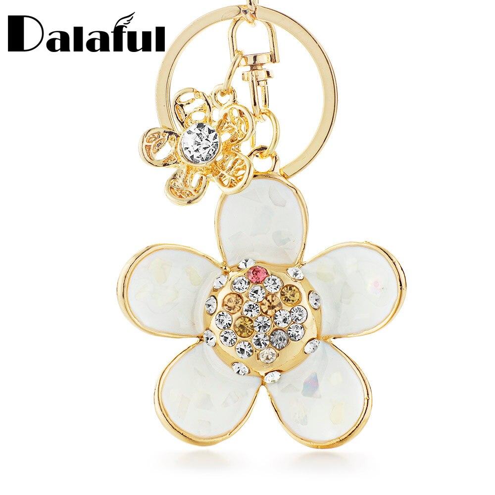 Dalaful Novelty Shell Petals Daisy Double Flower Floral Crystal Rhinestone Keyrings Key Chains Holder Women Keychains K245