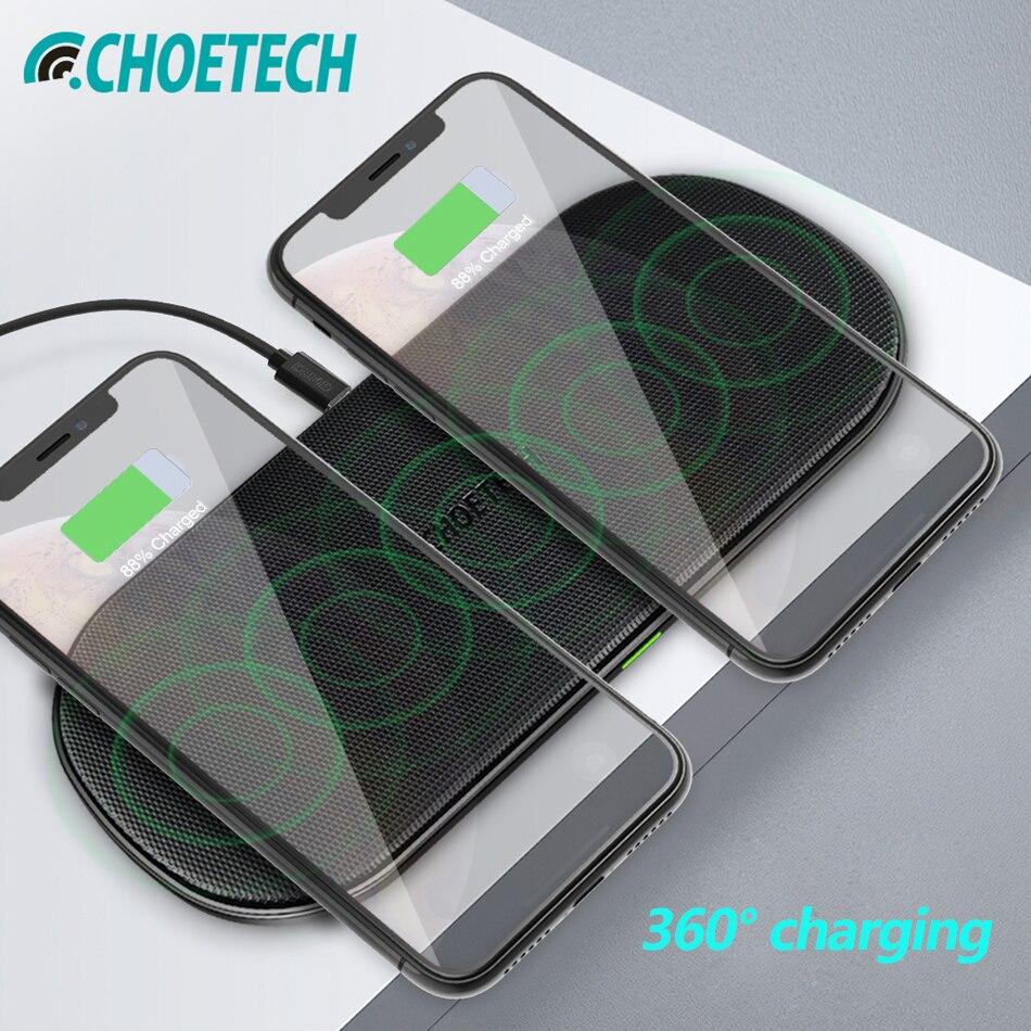 CHOETECH chargeur sans fil double Pad rapide QI recharge sans fil pour iPhone Xs Max Xr X 8 10 W Dock de téléphone pour Samsung S9 S8 S7 Edge