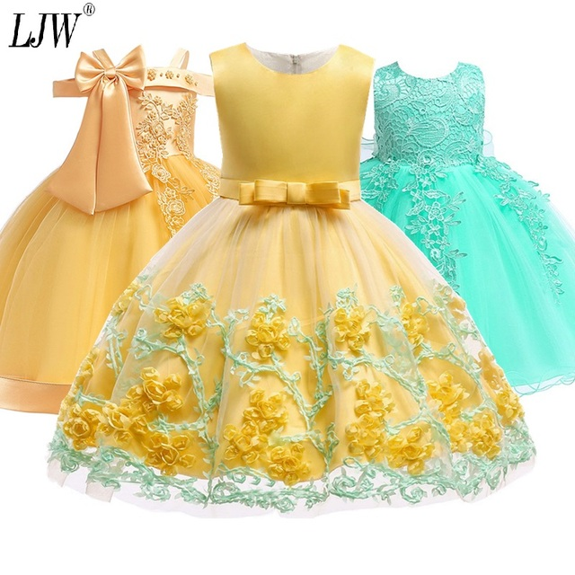 2019 Kids Tutu Birthday Princess Party Dress for Girls Infant Lace Children Bridesmaid Elegant Dress for Girl baby Girls Clothes
