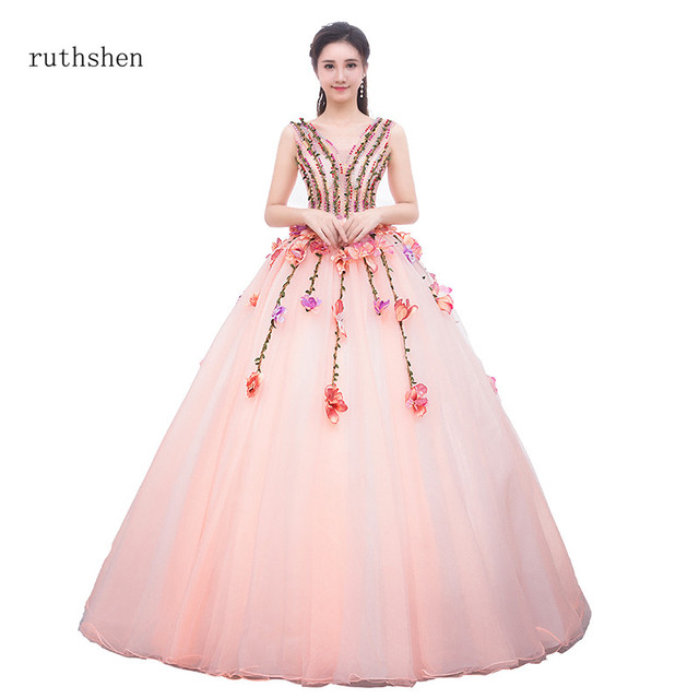 ruthshen 2019 New Arrival Fairy Princess Quinceanera Dresses Beaded  Handmade Colorful Flowers Puffy Ball Gown Vestido 12ea586f76ec
