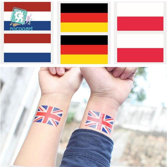 2018 Angielski Flagi Tatuaż Naklejki Z Gemany Polsce Holandia