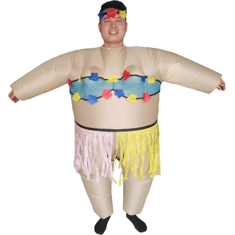 Hawaiian Dancer Inflatable Hula Costume for Adults Halloween Carnival Cosplay Party Fancy Dress Women Birthday Blow Up Outfit