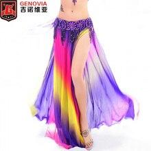 ריקוד בטן חדש חצאית תחפושות 2 שכבות עם חריצים חצאית השמלה 6 צבעים