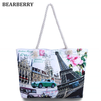 BEARBERRY 2017 women printed canvas large size beach bags holiday bags for girls vintage casual shopping bags  MN511