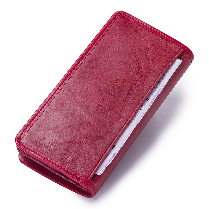 Image 3 - Contacts Luxury Brand Women Wallets Genuine Leather 2020 New Long Design Ladies Purse Clutch Bag Card Cell Phone Holder Walletbrand women walletdesigner women walletwomen brand wallet -