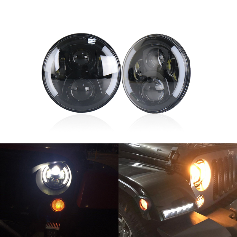 2x Black 7Inch Round H/L DRL W/ Turn Signal Led Headlight Assembly Kit For Lada 4x4 Urban Niva For Jeep Wrangler For Land Rover yait 2pcs 7 inch auto led headlight for jeep wrangler with white drl amber turn signal lamps for lada 4x4 urban niva uaz hunter