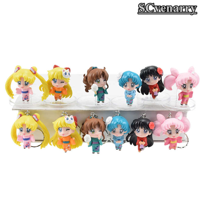 Sailor Moon kimono Chibimoon Mars Jupiter Venus Mercury Q Version Anime PVC Action Figure Keychain Toys 6pcs/set