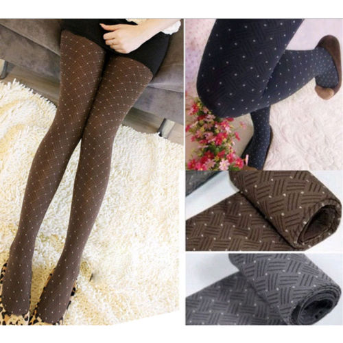 916fa65a1e5 Women Thick Warm Winter Cotton Polka dot print Stockings Stretch Tights  Opaque Pantyhose