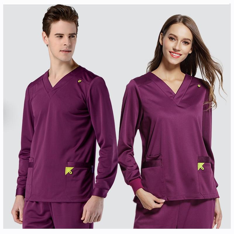 Infinity Stretch Rib Knit Scrubs Medical Uniforms Full Elastic Drawstring Medical Clothes Spot Set Women Men Winter Top&Pant