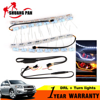 2Pcs White Amber Car LED Daytime Running Light DRL Flowing Amber Turn Signal Lights Sequential Flasher