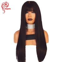 Hesperis Brazilian Human Hair Full Lace Wigs With Bangs Silky Straight Glueless Lace Human Hair Wigs With Fringe 150 Density