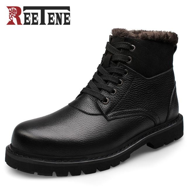 REETENE Marca de Qualidade Superior Homens Marca de Neve Botas de Inverno 2016 Genuína Artesanal de Couro Homens Sapatos de Inverno Moda Masculina Botas Mais Quentes