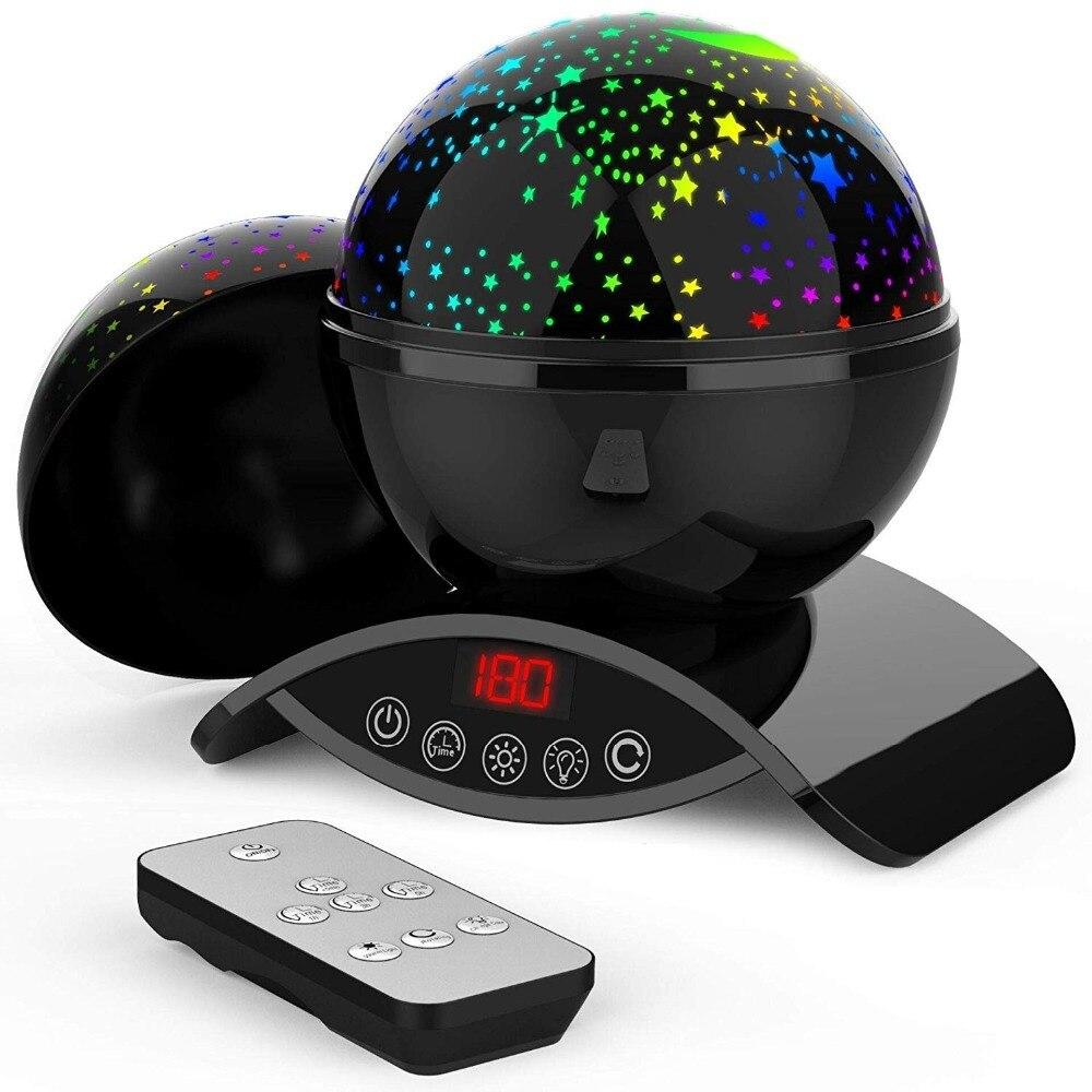 Elecstars LED светодио дный ночник детский вращающихся Star Сенсорный проектор освещения Луна Небо Рождество Дети светильник для малышей подарки для женщин настольная лампа USB датчик движения - Испускаемый цвет: black