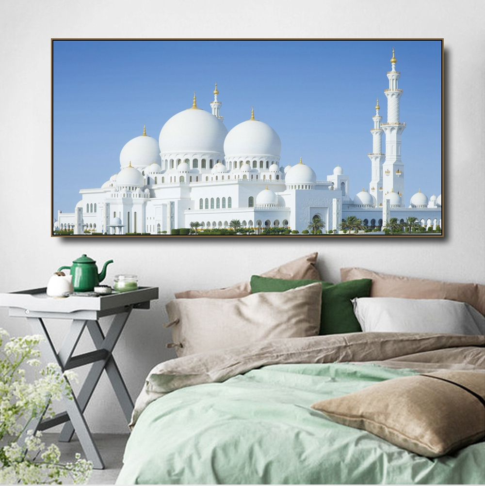 Grand Mosque Architecture Canvas Painting Calligraphy Poster Print Living Room House Wall Decor Art Home Decoration Picture in Painting Calligraphy from Home Garden