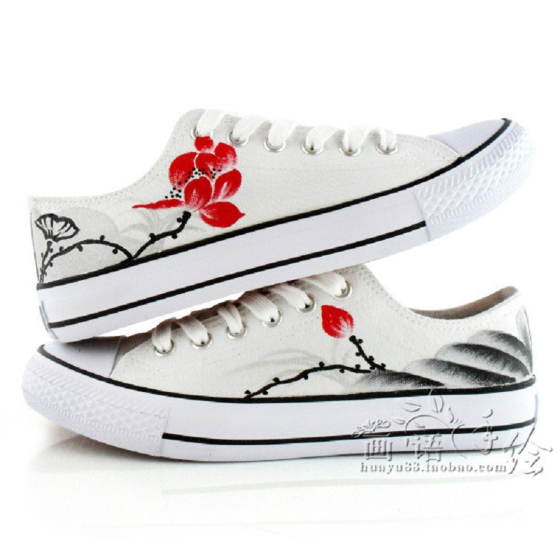 ФОТО China Style Canvas Hand-painted Shoes Women Footwear Girl Female Comfort Slipon Women Shoes