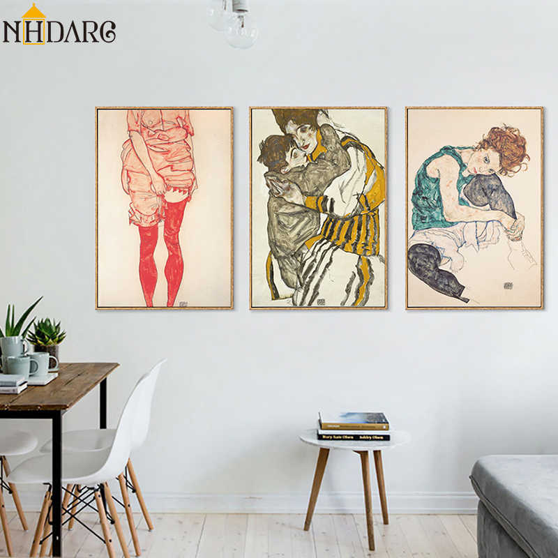Egon Schiele Body Color Delineation Sketch Figure Canvas Art Print Painting Poster, Wall Pictures For Living Room, Home Decor