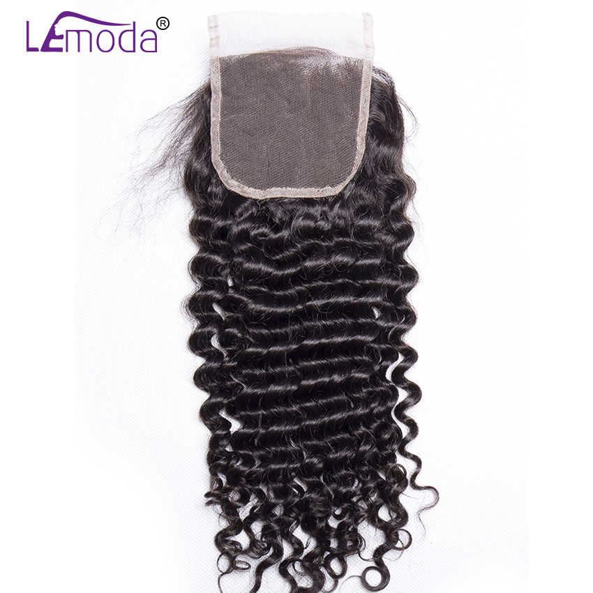 Lemoda Brazilian Deep Wave Lace Closure 4*4 Free Middle Three Part Closure With Baby Hair 150% Density Lace Closure Remy Hair