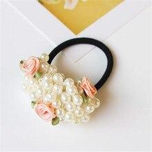 Scrunchies flower beaded pearl headband