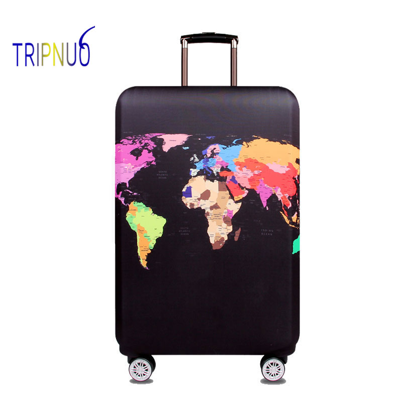 TRIPNUO Elastic Fabric World Map Luggage Protective Cover, Suitable18-32 Inch , Trolley Case Suitcase Cover Travel Accessories