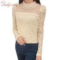 2015 Remarkable 1PC Women Sheer Sleeve Embroidery Shirts Lace Crochet Tee Chiffon Shirt Blouse Cool Blusas