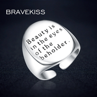 BRAVEKISS 925 Silver Ring Alphabet Rings For Ladies Engagement Polished Finish Adjustable Open Letter Ring Jewelry