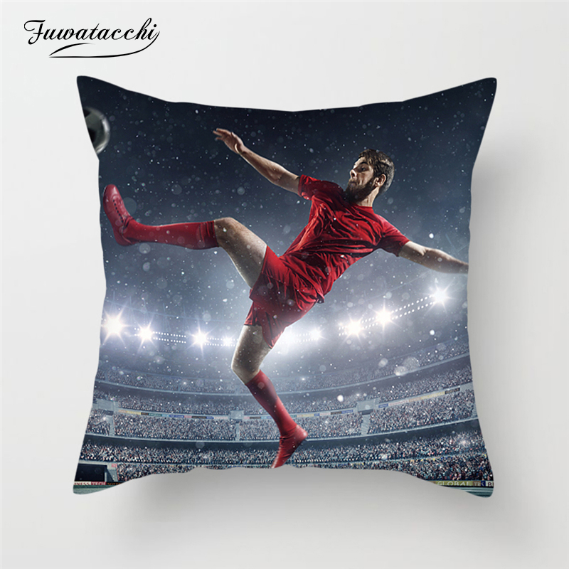 Fuwatacchi Team Football Sports Cushion Cover Soccer Field Soft Pillow For Home Sofa Decoration Accessories Pillowcases
