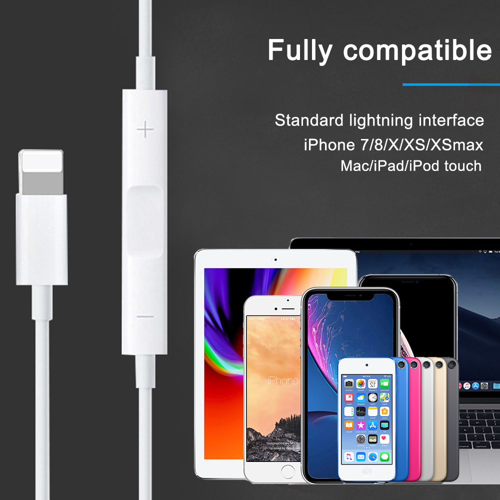 Original Earbuds for lightning In Ear Earphones with Microphone and Volume Control for iPhone 7 7 Plus 8 8 Plus X XS Max XR in Earphone Accessories from Consumer Electronics
