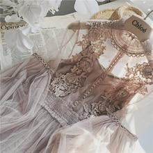 Новое Женское модное платье со стоячим воротником и рукавами-фонариками, Сетчатое платье, прозрачное кружевное платье феи с вышивкой, женское платье