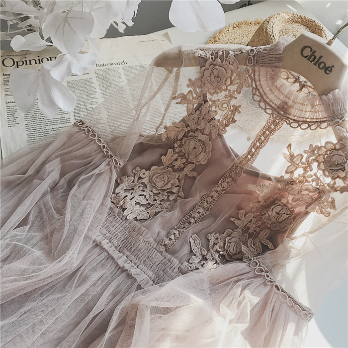 2019 New Women Fashion Dress Stand Collar Lantern Sleeve Mesh Dress See-through Lace Embroidery Fairy Dress Femme Vestidos Robe