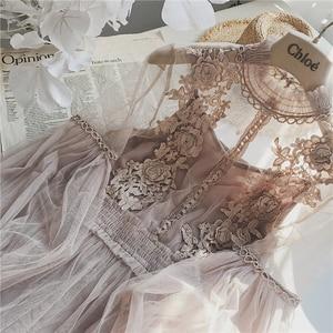 2019 New Women Fashion Dress Stand Collar Lantern Sleeve Mesh Dress See-through Lace Embroidery Fairy Dress Femme Vestidos Robe(China)