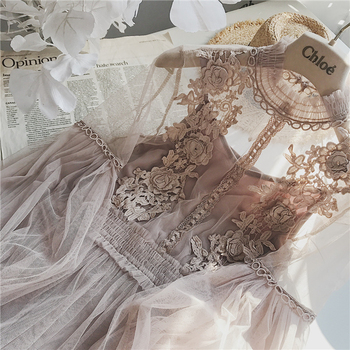 2019 New Women Fashion Dress Stand Collar Lantern Sleeve Mesh Dress See-through Lace Embroidery Fairy Dress Femme Vestidos Robe