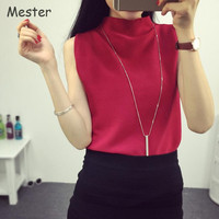 European Celebrity Style Stand Collar Knit Tank Top Spring Summer Turtleneck Sleeveless Crop Top Bottoming Pullover