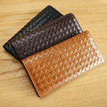 LANSPACE real cow leather men's long wallet woven leather purse ultra thin coin purses holders