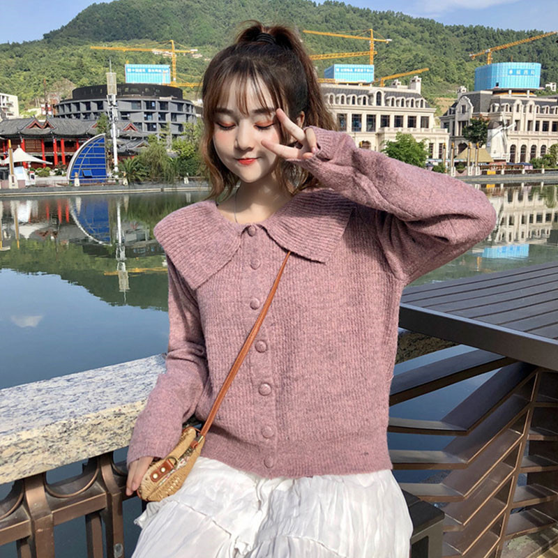 Autumn Sweater 2018 New Harajuku Women's Jumpers Long Sleeves Knitted Tops Ruffled Collar Chic Sweet Sweaters Pink Cardigans