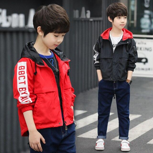 2018 новые осенние куртки для больших мальчиков толстовка детские, для малышей с модным принтом Высококачественная брендовая одежда красный Черная куртка 3 4 5 6 7 8 10 лет