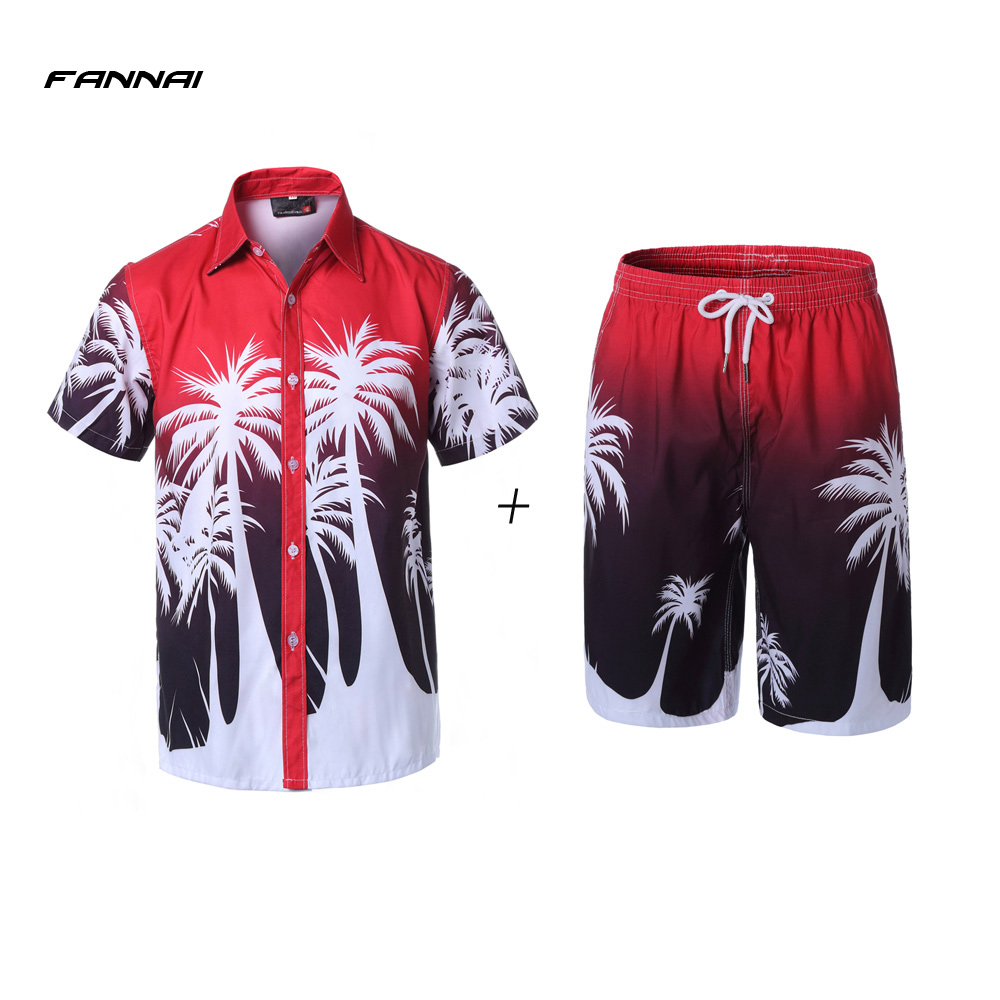 Summer New Men Causal Beach Suits Short Sleeve Shorts Sweatsuit+Pants Quick-dry Tracksuit Men's Sports Suits Sportswear