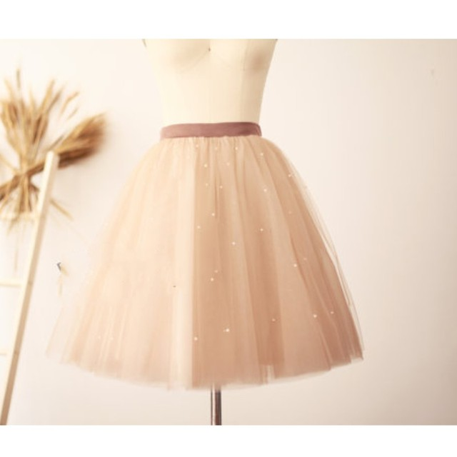 4e853db6676 Faldas Saias Light Champagne Color Tulle Skirts Pearls For Lady Custom Made Knee  Length Midi Tulle Skirt Women Zipper New