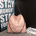 chains totes shoulder double bags Women handbags famous brand bucket vintage Female Bolsa high quality leather versatile 13812