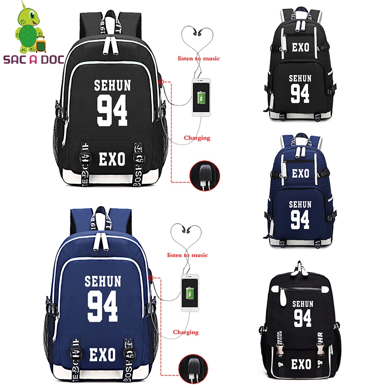 Backpacks Dynamic Exo Korean Black Backpack Mochila With Usb Mochila Escolares Para Adolescentes Unisex Bag Pack Multi Bagpack Laptop Backpack Comfortable And Easy To Wear